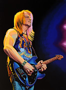 Rock Guitar Player Posters - Steve Morse Poster by Paul  Meijering