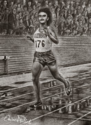 Runner Drawings Posters - Steve Prefontaine Poster by Edward Pollick
