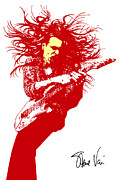 Yellow  Digital Art Posters - Steve Vai No.01 Poster by Caio Caldas