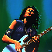 Rock Guitar Player Posters - Steve Vai Poster by Paul  Meijering