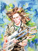 Playing The Guitar Framed Prints - STEVE VAI PLAYING the GUITAR -watercolor portrait Framed Print by Fabrizio Cassetta