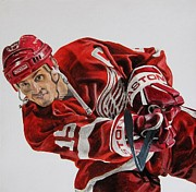 Hockey Digital Art - Steve Yzerman Art Poster by Sanely Great