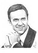 Hockey Drawings Prints - Steve Yzerman Print by Murphy Elliott