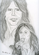 Singer Drawings - Steven Tyler Aerosmith by Eva Ason