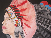 Aerosmith Paintings - Steven Tyler As A Chrerokee Indian by Jeepee Aero