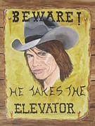 Steven Tyler Painting Prints - Steven Tyler As A Cowboy Print by Jeepee Aero