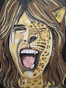 Steven Tyler Painting Prints - Steven Tyler As A Wild Cat Print by Jeepee Aero