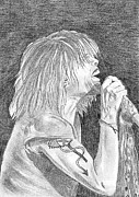 Rock N Roll Drawings Originals - Steven Tyler Concert Drawing by Jeepee Aero