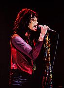 Singer Painting Posters - Steven Tyler in Aerosmith Poster by Paul Meijering