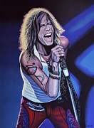 Symbol Painting Framed Prints - Steven Tyler of Aerosmith Framed Print by Paul  Meijering