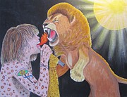 Aerosmith Paintings - Steven Tyler versus lion by Jeepee Aero