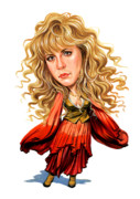 Caricature Paintings - Stevie Nicks by Art