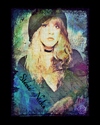 Classic Singer Digital Art - Stevie Nicks - Beret by Absinthe Art  By Michelle Scott