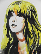 Blacks Painting Posters - Stevie Nicks...Head Shot Poster by Chrisann Ellis