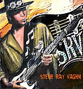 Austin Artist Digital Art Posters - Stevie Ray Vaghn Poster by Larry  E Lamb