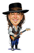 Exaggerart Painting Framed Prints - Stevie Ray Vaughan Framed Print by Art