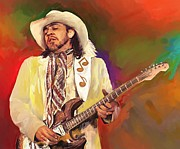 Stratocaster Mixed Media - Stevie Ray Vaughan by Donna Johnson