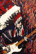 Guitarists Paintings - Stevie Ray Vaughan by Kevin J Cooper Artwork