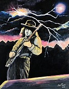 Singer Painting Originals - Stevie Ray Vaughan by Shirl Theis