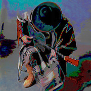 Print On Canvas Digital Art Prints - Stevie Ray Vaughan SRV Print by Byron Fli Walker