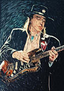 Electric Fan Framed Prints - Stevie Ray Vaughan Framed Print by Taylan Soyturk