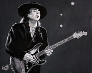 Blues Guitar Paintings - Stevie Ray Vaughan by Tom Carlton