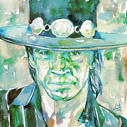 Stevie Ray Vaughan Acrylic Prints - STEVIE RAY VAUGHAN- watercolor portrait Acrylic Print by Fabrizio Cassetta