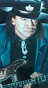 Music Legends Paintings - Stevie Ray Vaughn by Darren Robinson