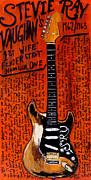 Iconic Guitar Posters - Stevie Ray Vaughn Fender Stratocaster Poster by Karl Haglund