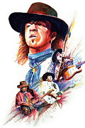 Rock And Roll Paintings - Stevie Ray Vaughn by Ken Meyer jr
