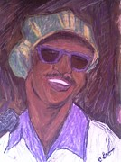 African American Artist Drawings Posters - Stevie Wonder 2 Poster by Christy Brammer