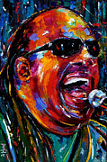 Musician Portrait Painting Originals - Stevie Wonder by Debra Hurd