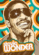 Piano Digital Art Posters - Stevie Wonder Pop Art Poster by Jim Zahniser