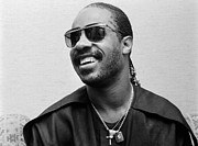 Pop Singer Framed Prints - Stevie Wonder Portrait Framed Print by Sanely Great
