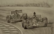 Motorsport Drawings - Stewart and Emerson by Juan Mendez