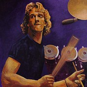 1980 Prints - Stewart Copeland - The Police Print by John  Nolan