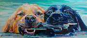 Golden Lab Paintings - Stick It by Kimberly Santini