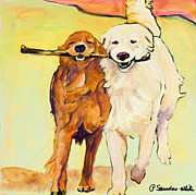 Golden Dogs With Stick Cards Prints - Stick With Me Print by Pat Saunders-White