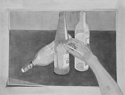 Wine Bottle Drawings - Still Drawing by Byron Moss