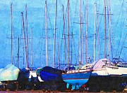 Waterscape Drawings Prints - Still In Storage North Muskegon Marina  Print by Rosemarie E Seppala