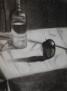 Wine Bottle Drawings Framed Prints - Still Framed Print by Leslie Ann Hammer