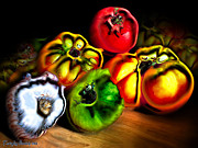 Signed Digital Art Posters - Still-life . Tomatoes and garlic. 2013 80/60 cm.  Poster by Tautvydas Davainis
