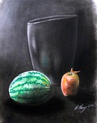 Watermelon Pastels Framed Prints - Still life 1 Framed Print by Michael Alvarez