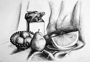 Watermelon Drawings Posters - Still Life 2 Poster by Alexandra-Emily Kokova