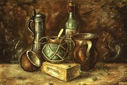 Oil On Canvas Drawings - Still Life 2 - Oil by Peter Art Prints Posters Gallery