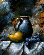 Grapes Art Framed Prints - Still life 24 Framed Print by Emerico Imre Toth
