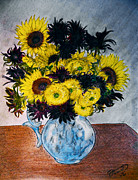 Honor Drawings Framed Prints - Still Life 28 Sunflowers in Blue Porcelain Pitcher Framed Print by Jose A Gonzalez Jr