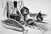 White Wine Drawings - Still Life 4 by Alexandra-Emily Kokova