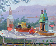 Glass Bottles Posters - Still Life and Seashore Bandol Poster by Sarah Butterfield