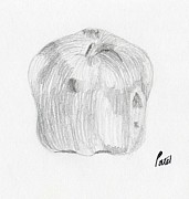 Fresh Food Drawings Prints - Still Life - Apple Print by Bav Patel